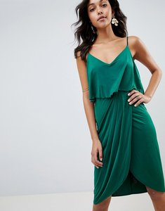Read more about Asos design slinky wrap midi dress - green