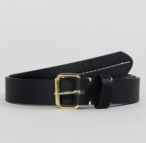 Read more about Asos smart slim faux leather belt in black with contrast stitch detail - black
