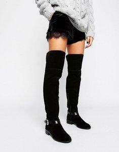 Read more about Asos kassil suede western over the knee boots - black suede
