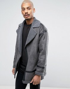 Read more about Asos faux shearling biker jacket in grey - grey