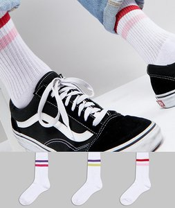 Read more about Asos sports style socks with contrast stripes 3 pack - white