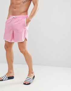 Read more about Asos design runner swim shorts in pink with white binding mid length - pink