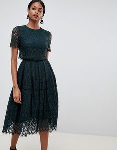 Read more about Asos design prom dress in lace with short sleeve - forest green