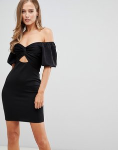 Read more about Flounce london off shoulder mini dress with cut out front in black
