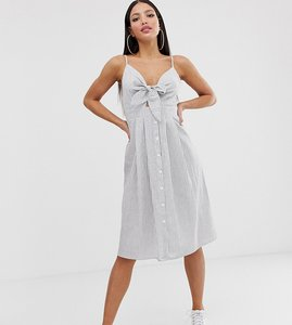 Read more about Missguided tall tie front midi dress in stripe