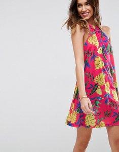 Read more about Asos halter neck swing sundress in bright hawaiian print - hawaiian print