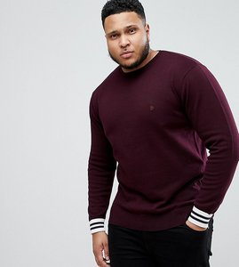 Read more about French connection plus crew neck knitted jumper with contrast cuff - red
