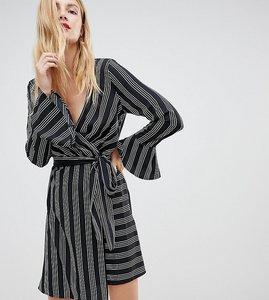 Read more about Vero moda tall striped wrap dress - black