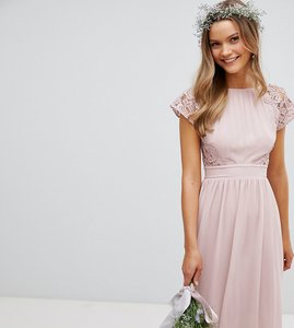 Read more about Tfnc maxi bridesmaid dress with scalloped lace and open back - mink