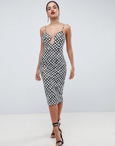 Read more about Asos design u bar bodycon dress in mono print - multi