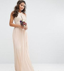 Read more about Tfnc bridesmaid exclusive pleated maxi dress in pearl pink