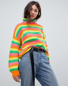 Read more about E l k roll neck jumper in fluffy neon knit - yellow