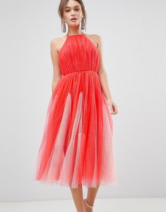 Read more about Asos design halter tulle godet midi dress - pink nude