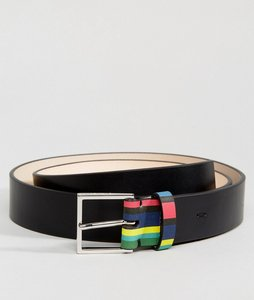 Read more about Ps paul smith leather logo stripe keeper belt in black - black