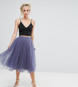 Read more about Little mistress petite midi tulle prom skirt - grey