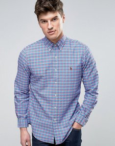 Read more about Polo ralph lauren check oxford shirt custom regular fit buttondown in blue pink - blue pink