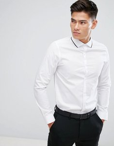 Read more about Burton menswear slim smart shirt with tipping collar in white - white