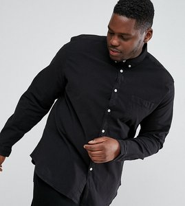 Read more about Asos plus casual stretch slim oxford shirt with button collar in black - black