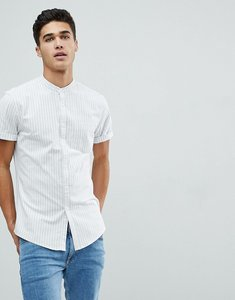 Read more about Asos design stretch slim oxford stripe shirt in blue - blue white