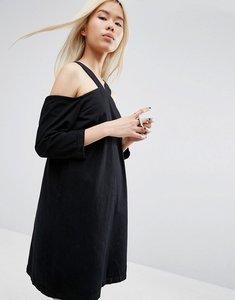 Read more about Asos white cold shoulder denim dress - black