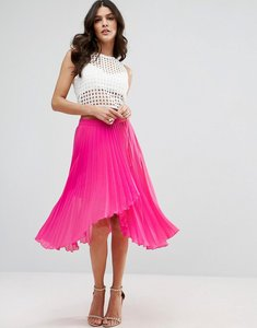 Read more about Asos pleated midi skirt with wrap front detail - pink