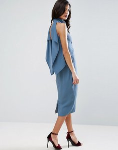 Read more about Asos high neck waterfall back pencil midi dress - soft blue