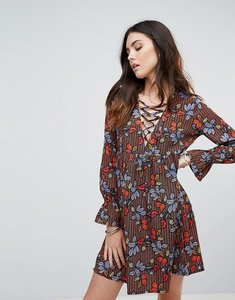 Read more about Influence lace up leaf print smock dress - multi