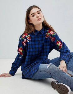 Read more about Asos oversized boyfriend check shirt with embroidery - multi