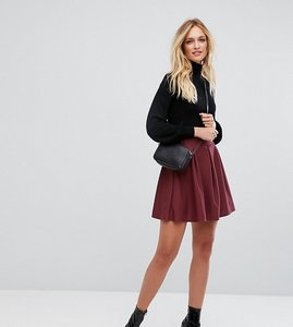 Read more about Asos tall mini box pleat skater skirt in texture - burgundy