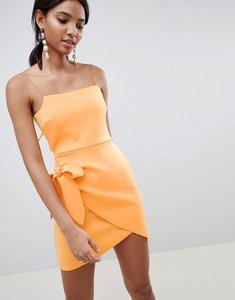 Read more about Asos design wrap front bow scuba mini dress - orange