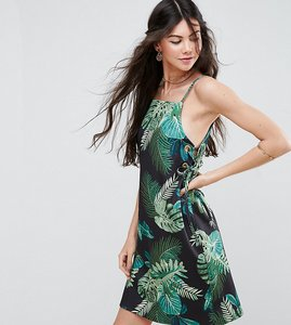Read more about Asos tall scuba mini dress with eyelet waist in palm print - tropical print