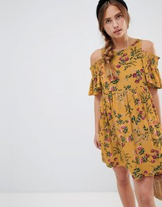 Read more about Glamorous floral dress with cold shoulder - mustard multi