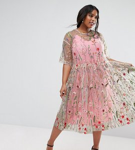 Read more about Asos curve salon embroidered smock longer length midi dress - multi