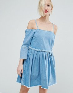 Read more about Asos denim off shoulder dress with pleat detail in mid wash blue - blue