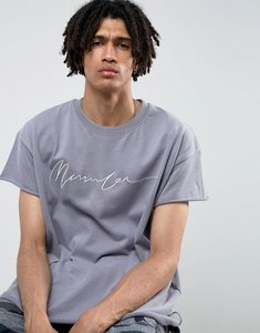 Read more about Mennace regular fit t-shirt with embroidery in lilac - orchid