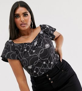 Read more about Pink clove body with frill sleeves in luxe chain print