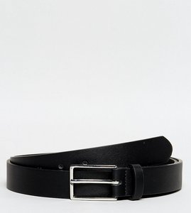 Read more about Asos plus smart faux leather slim belt in black - black