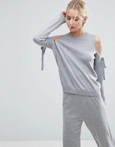 Read more about Asos jumper with tie cold shoulder in cashmere mix co-ord - grey marl