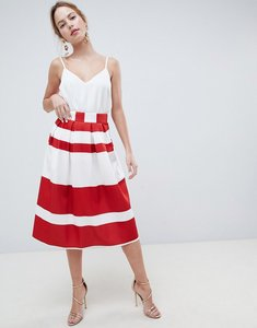 Read more about Asos design midi scuba prom skirt in red stripe - red ivory