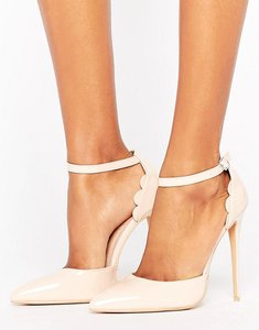 Read more about Lost ink scalloped patent heeled shoes - nude
