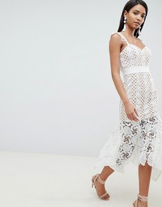 Read more about Jarlo all over cutwork lace midi dress in nude - white