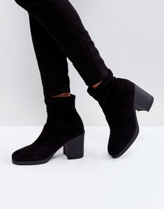 Read more about Truffle collection chunky heel sock boot - black micro