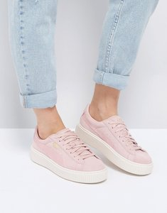 Read more about Puma suede satin platform trainers in pink - silver-pink-white