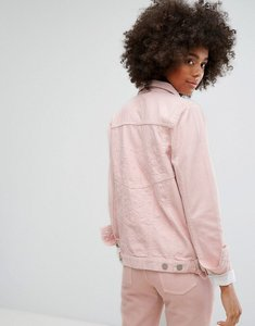 Read more about Waven classic denim jacket with tonal embroidery in pastel - blush pink