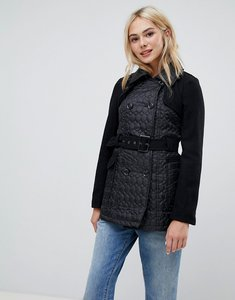 Read more about Brave soul lemar trench coat with oval quilt detail - black