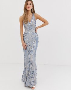 Read more about Bariano embellished patterned sequin strappy back maxi dress in silver