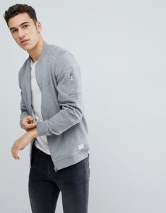 Read more about Jack jones core sweat bomber with zip arm pocket - light grey melange