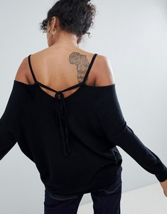 Read more about Asos jumper with cold shoulder and tie back - black