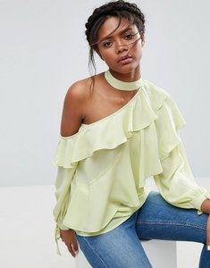 Read more about Asos ruffle blouse with exposed shoulder neck band - apple