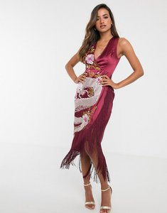 Read more about Asos design midi dress with dragon embroidery and fringe hem